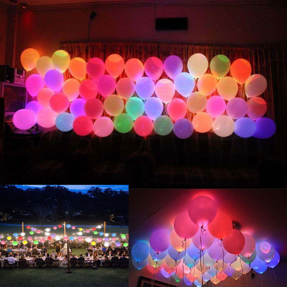 50 150 Pcs Colorful Led Balloons Light Up Balloons Party