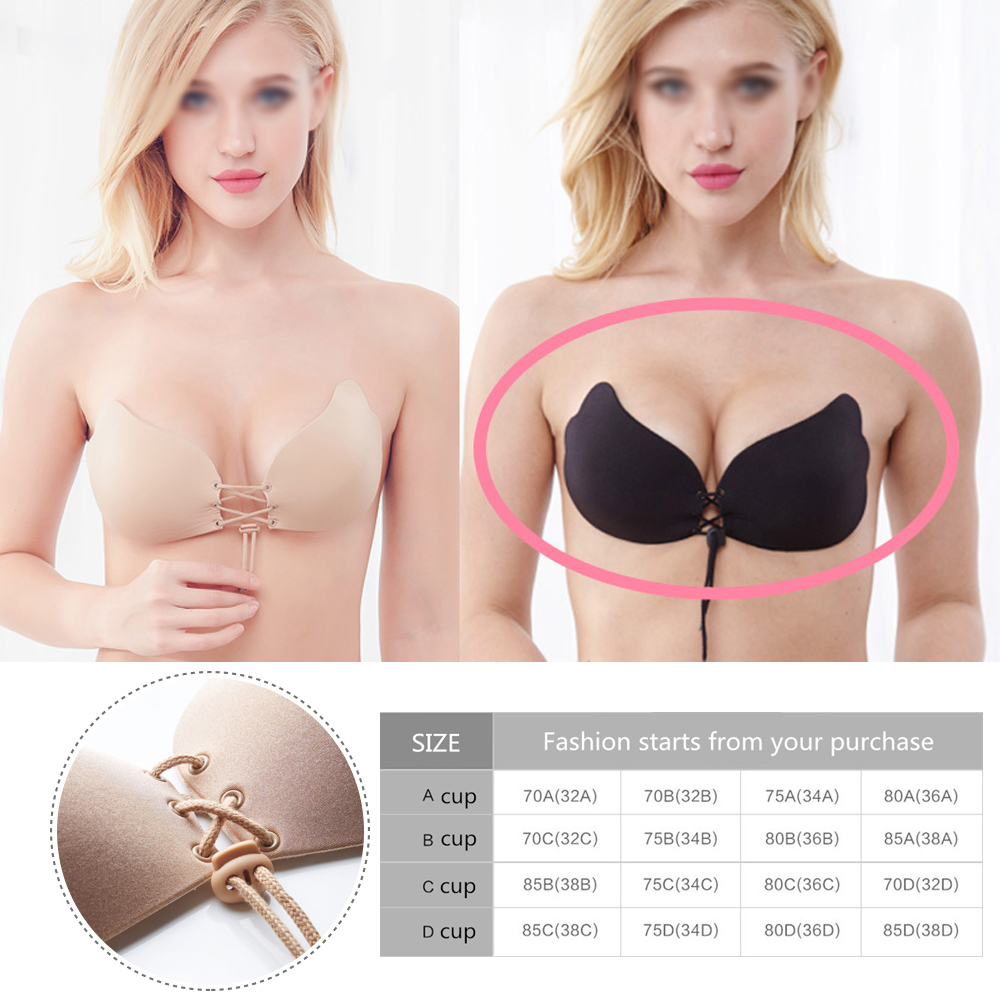065f750ab22b1 Details about Perfect Sculpting Lace-Up Strapless Cleavage Boosting Breast  Lift Bra backless