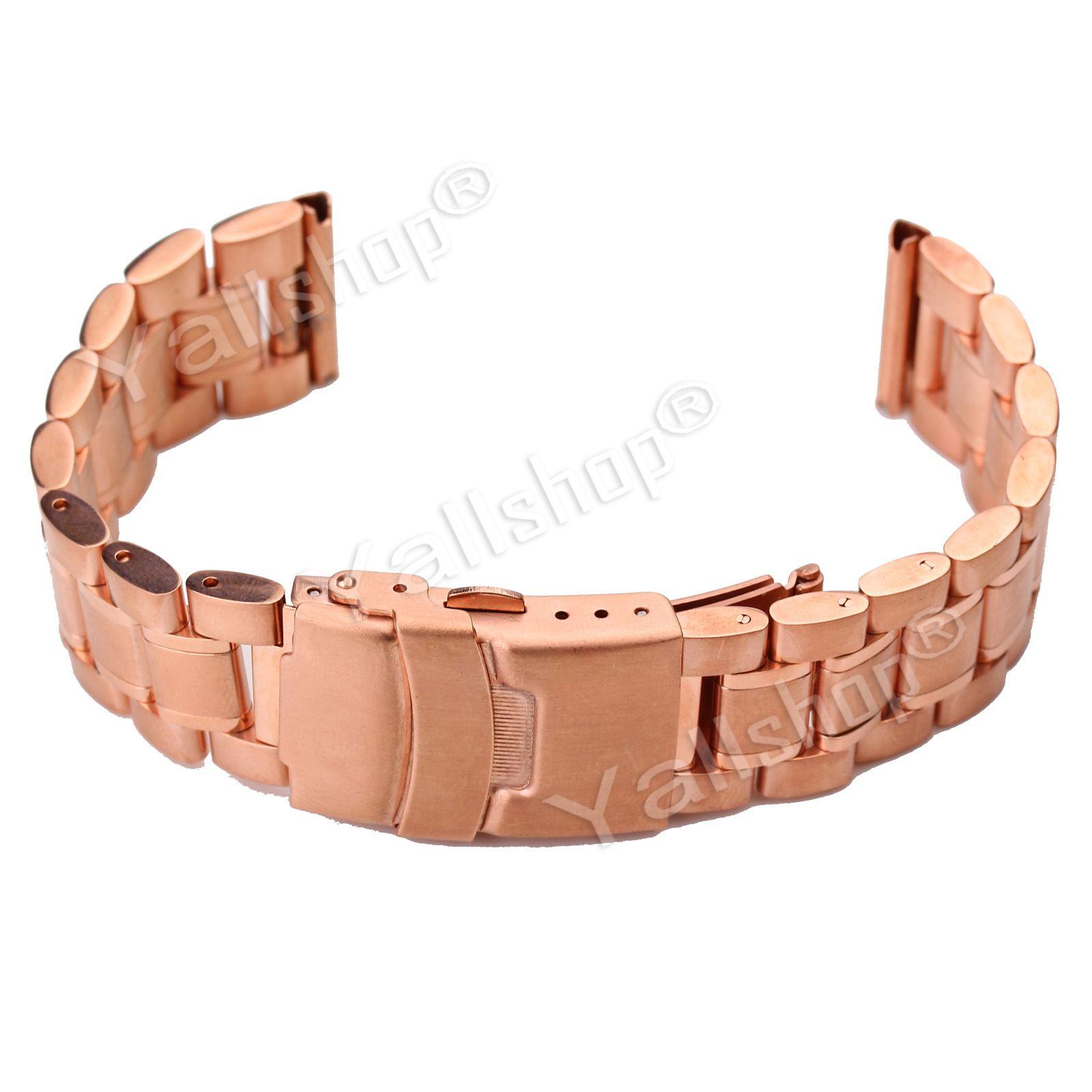18 20 22 24mm Stainless Steel Men's Watch Band Strap Double Lock Flip  Bracelet