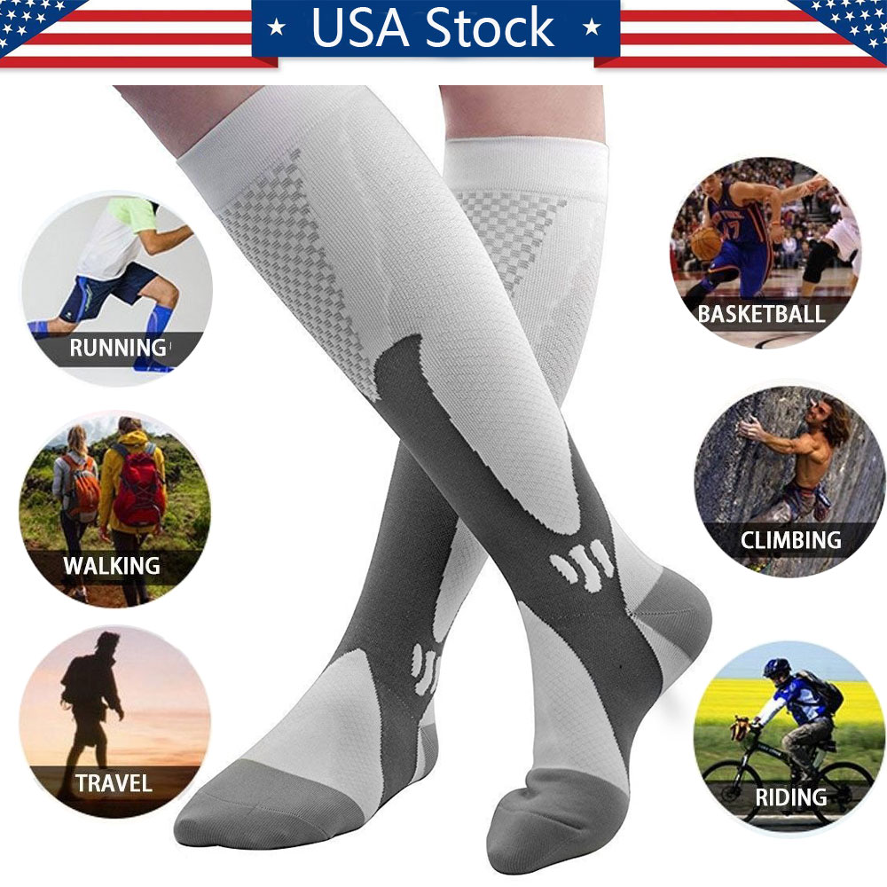 4 Pairs Compression Socks for Women and Men Stockings for Running Athletic Sports Travel Fitness