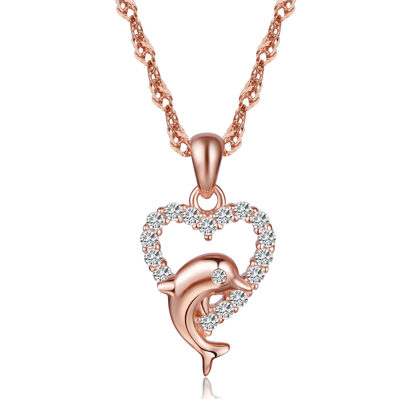 Damen 925 Silber als Herz Delfin mit Zirkonia Anhänger Silberanhänger
