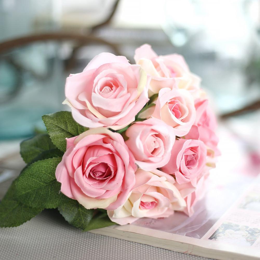 6 Heads Artificial Rose Rosa Azul Silk Flower Bouquet Wedding Home ...