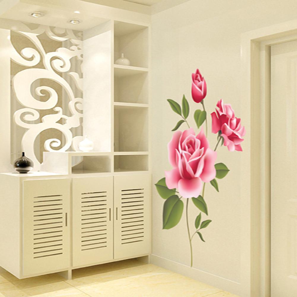 Rose Flower Removable Bedroom Art Mural Vinyl Wall Sticker DIY Decal ...