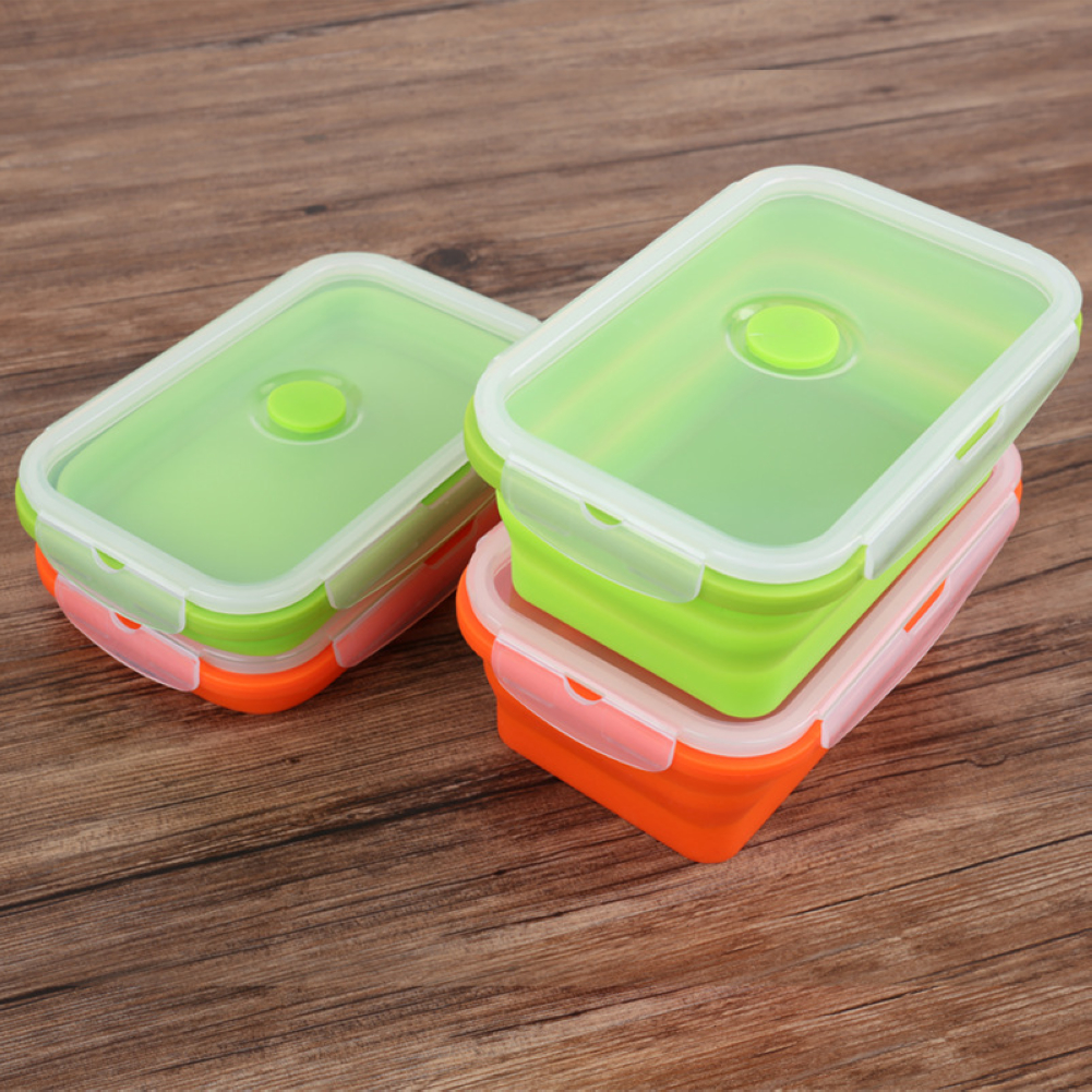 Collapsible Food Storage Containers Silicone Folding Lunch Box With Clip  Top Lid
