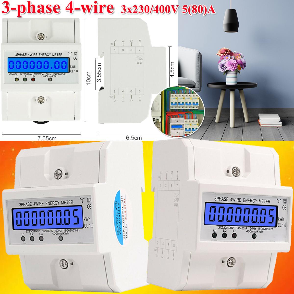 LCD Drehstromzähler geeicht für DIN Hutschiene mit 3x230//400V 100A Stromzähler
