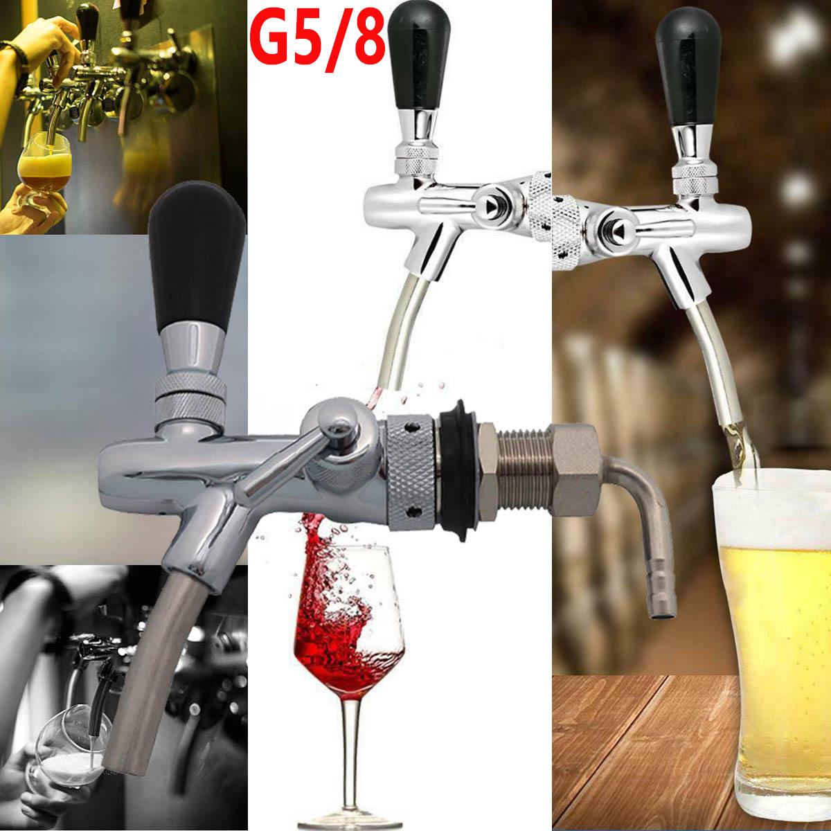 Kompensatorschankhahn mit Schaumtaste chrom Zapfhahn Edelstahl Bier zapfen Neu