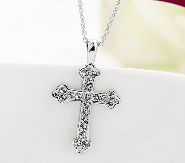 Unisex-Cross-Chain-18K-Rose-Gold-GP-Charm-Crystal-Valentine-Necklace-Pendant thumbnail 22