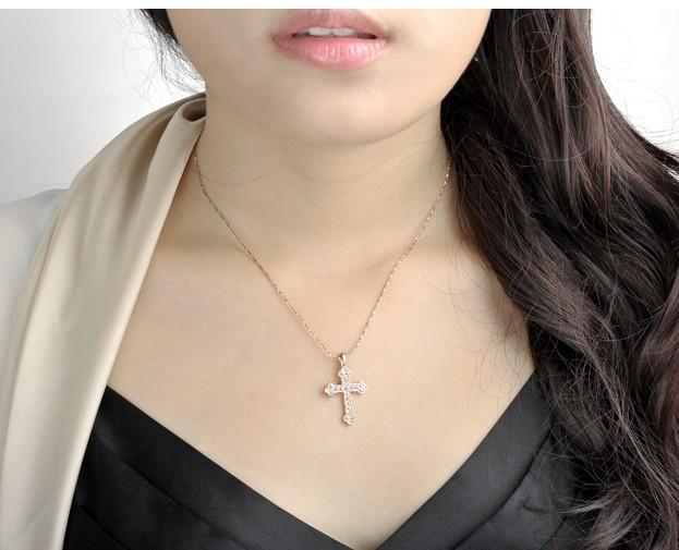 Unisex-Cross-Chain-18K-Rose-Gold-GP-Charm-Crystal-Valentine-Necklace-Pendant thumbnail 16