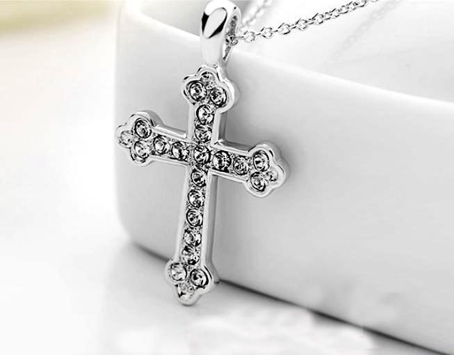 Unisex-Cross-Chain-18K-Rose-Gold-GP-Charm-Crystal-Valentine-Necklace-Pendant thumbnail 21