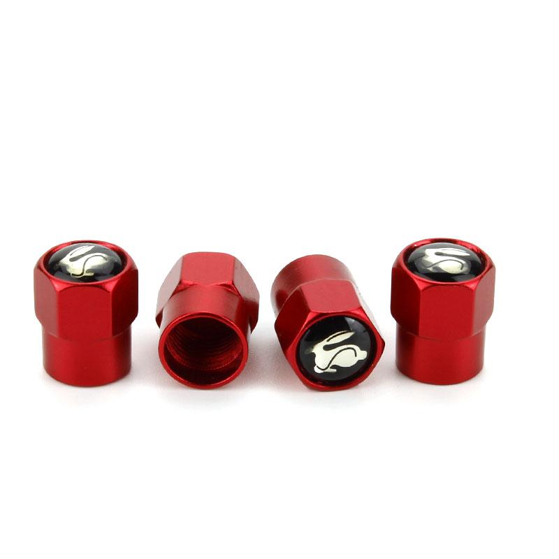 4pcs RED Wheel Tire Air Valve Stem Caps Cover With VW Emblem Fit VW