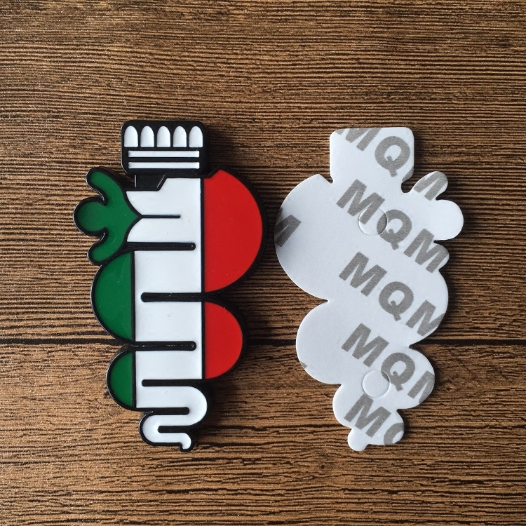 Black Snake Italian Flag Grille Emblem+3D Car Body Badge