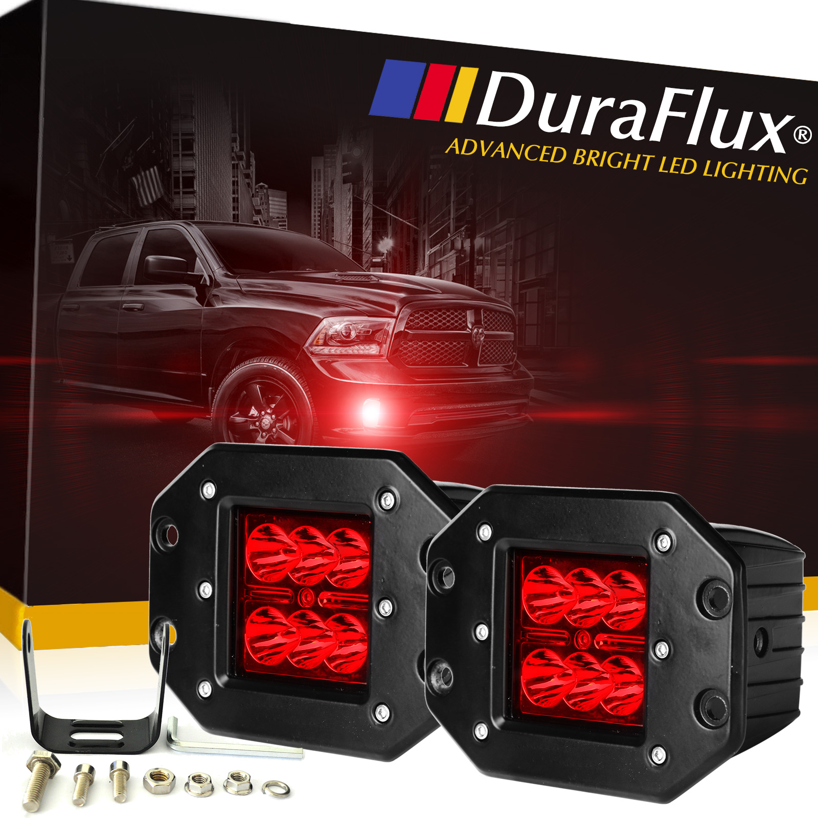 DuraFlux 60W CREE LED Red Pod Fog Lights Dually Flush Mount For