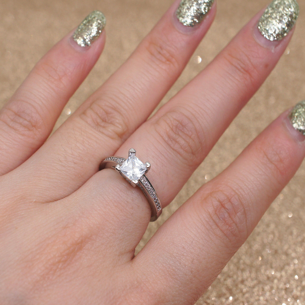 Simple Princess Diamond Ring 4 Claw Square Wedding Accessories Women ...