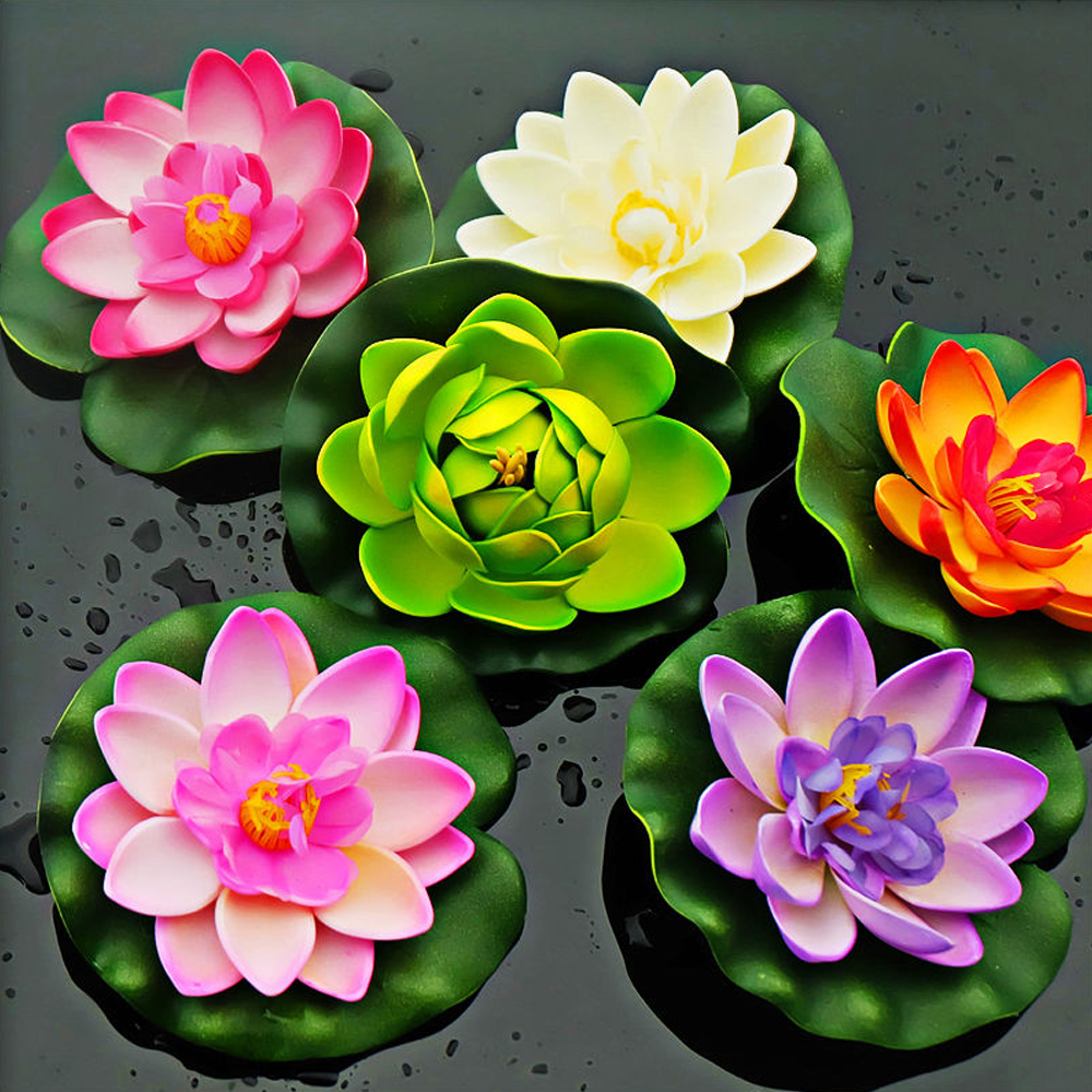 Artificial Water Lily Lotus Pond Pool Floating Flowers Decor ...