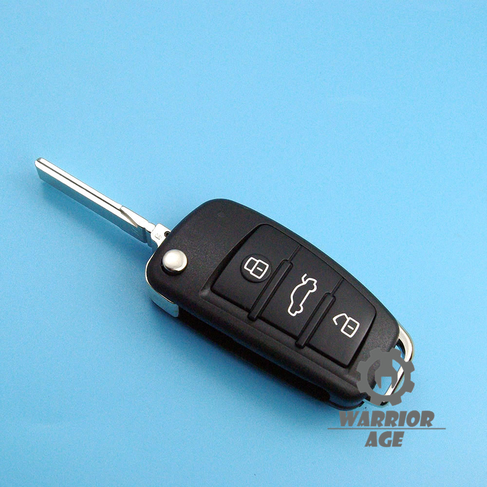 Replace Flip Smart Remote Key Shell Case Fob 3 BTN w// Blade For Audi A4 A6 A8 TT