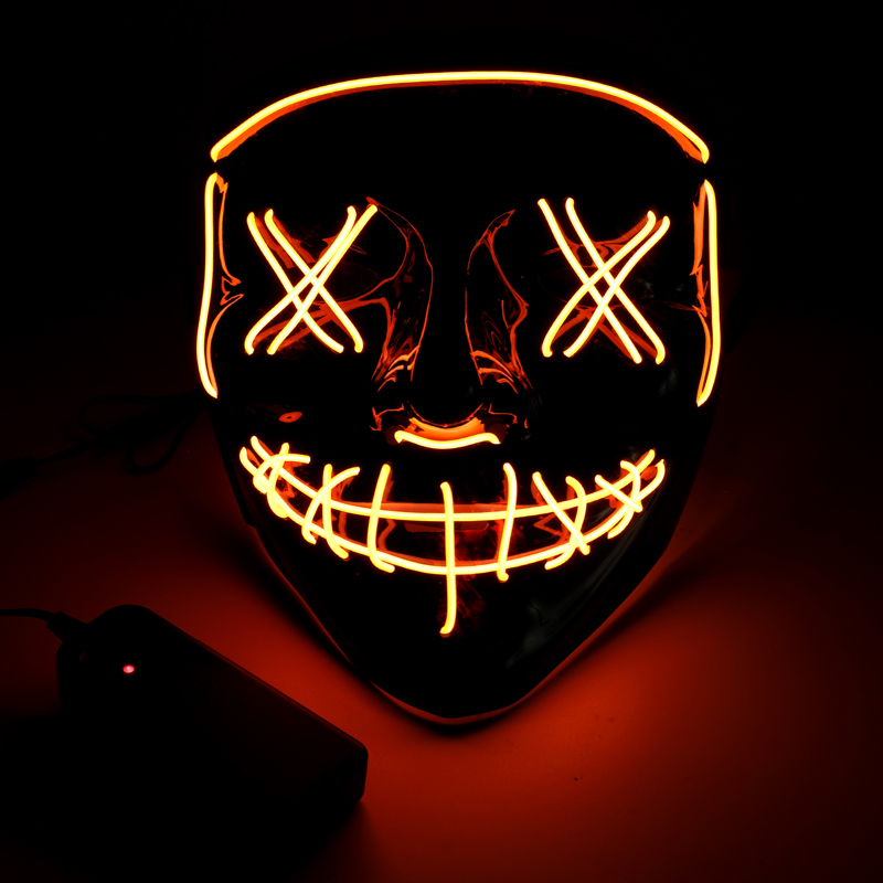 Red Halloween Stitched Light Up Mask EL Purge Flash LED Scary Mask Party 4 Modes