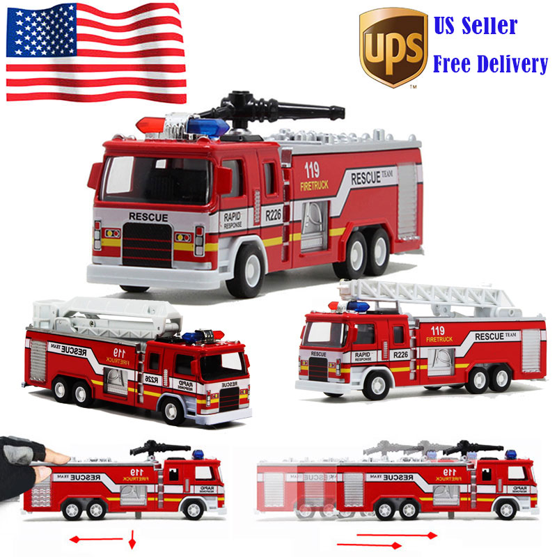 Details about 1:32 Model Toy Aerial Rescue Fire Truck Car Kids Educational  Christmas Toys Gift