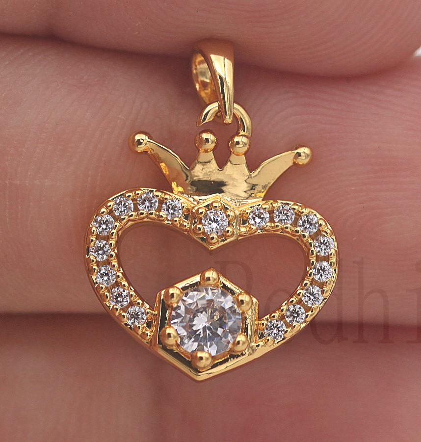 Zircon Heart Multilayer Hollow Wedding Women Pendant 18k White Gold Filled