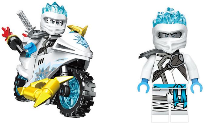 8Stk Ninjago Motorrad Ninja Mini Figuren Bausteine Spielzeug Kai Jay Sensei Wu