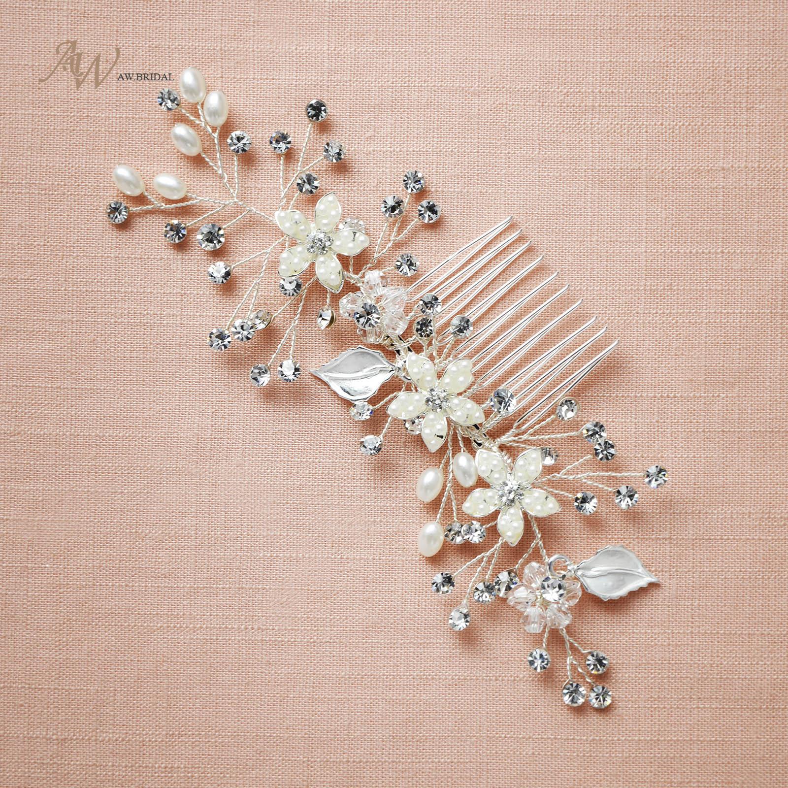 3bcd7c29d8f03 Lux Bridal Hair Comb Wedding Headwear Pearl Crystal Hair Jewelry  Accessories US