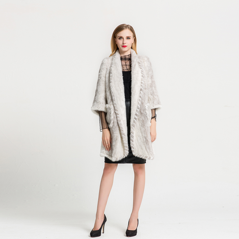 Real White Mink Fur Coat For Women Handmade Knitted Mink Fur With ...
