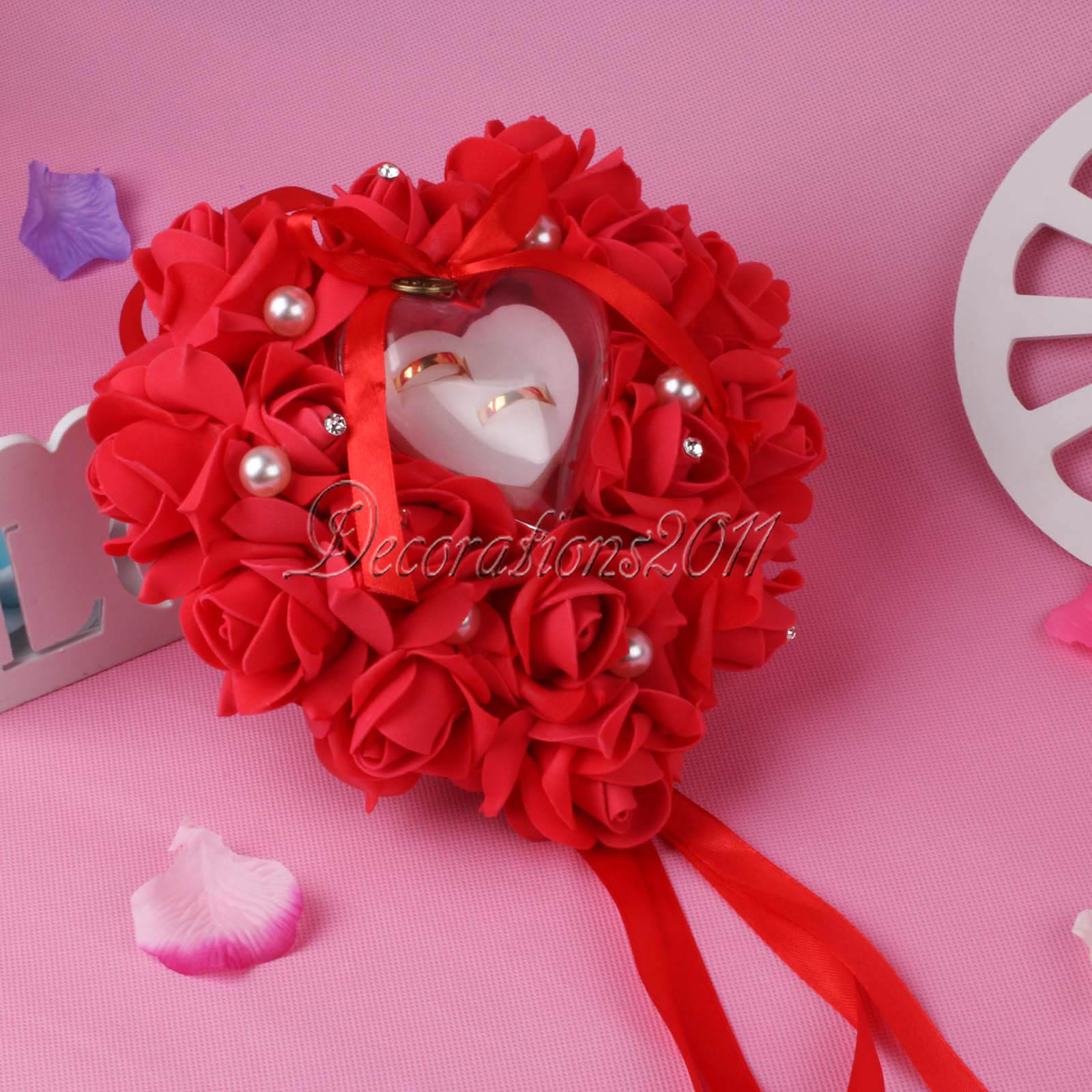 Rose Flowers Heart-shape Ring Pillow Cushion Ring Bearer Wedding ...