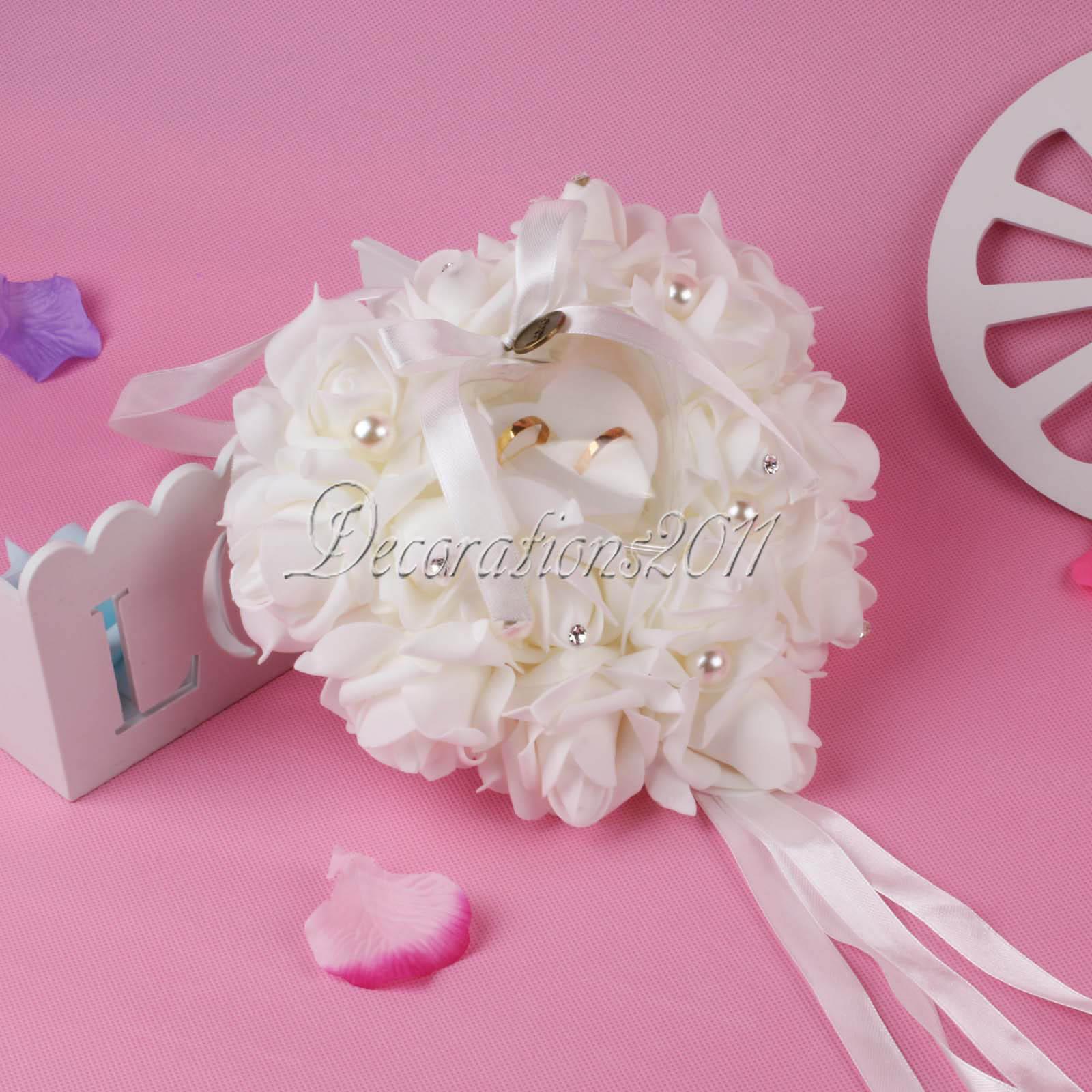 Rose Flowers Heart-shape Ring Pillow Cushion Ring Bearer Wedding ...