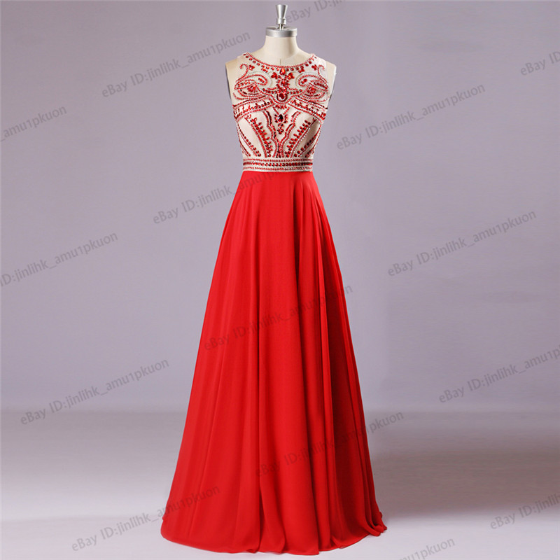 Red Beaded Party Chiffon Long Pageant Prom Evening Gown Sleeveless ...