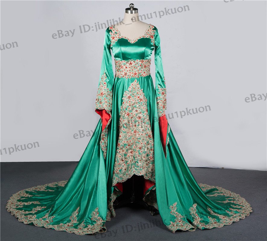 Dubai Long Sleeve Evening Gowns Arabic Muslim Lace Appliques Prom ...
