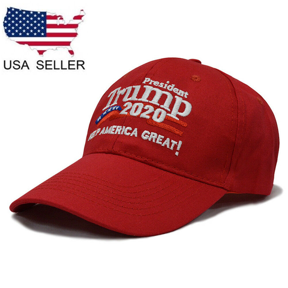 NEW USA RED Trump 2020 Cap With American Flag Embroidery