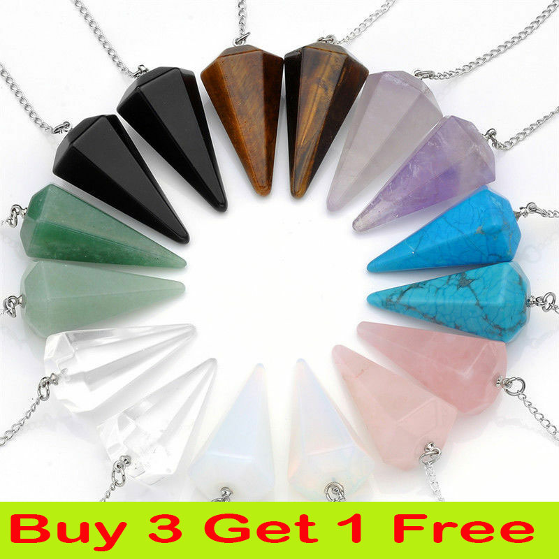Crystal Gemstone Pendant For Necklace Healing Point Reiki Chakra Jewellery