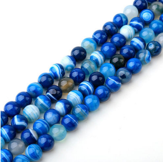 Wholesale Natural Gemstone Round Spacer Loose Beads Blue Stripe Agate 8mm-20pcs
