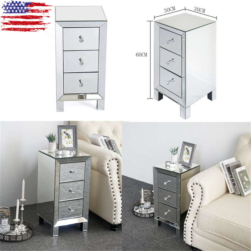 Details about Mirrored 3-Drawers Nightstand Glass Bedside Cabinet Table  Bedroom Furniture US