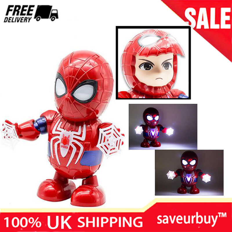 Iron Man//Spiderman Dance Hero Action Figure Robot Toy Dancing Music With Light