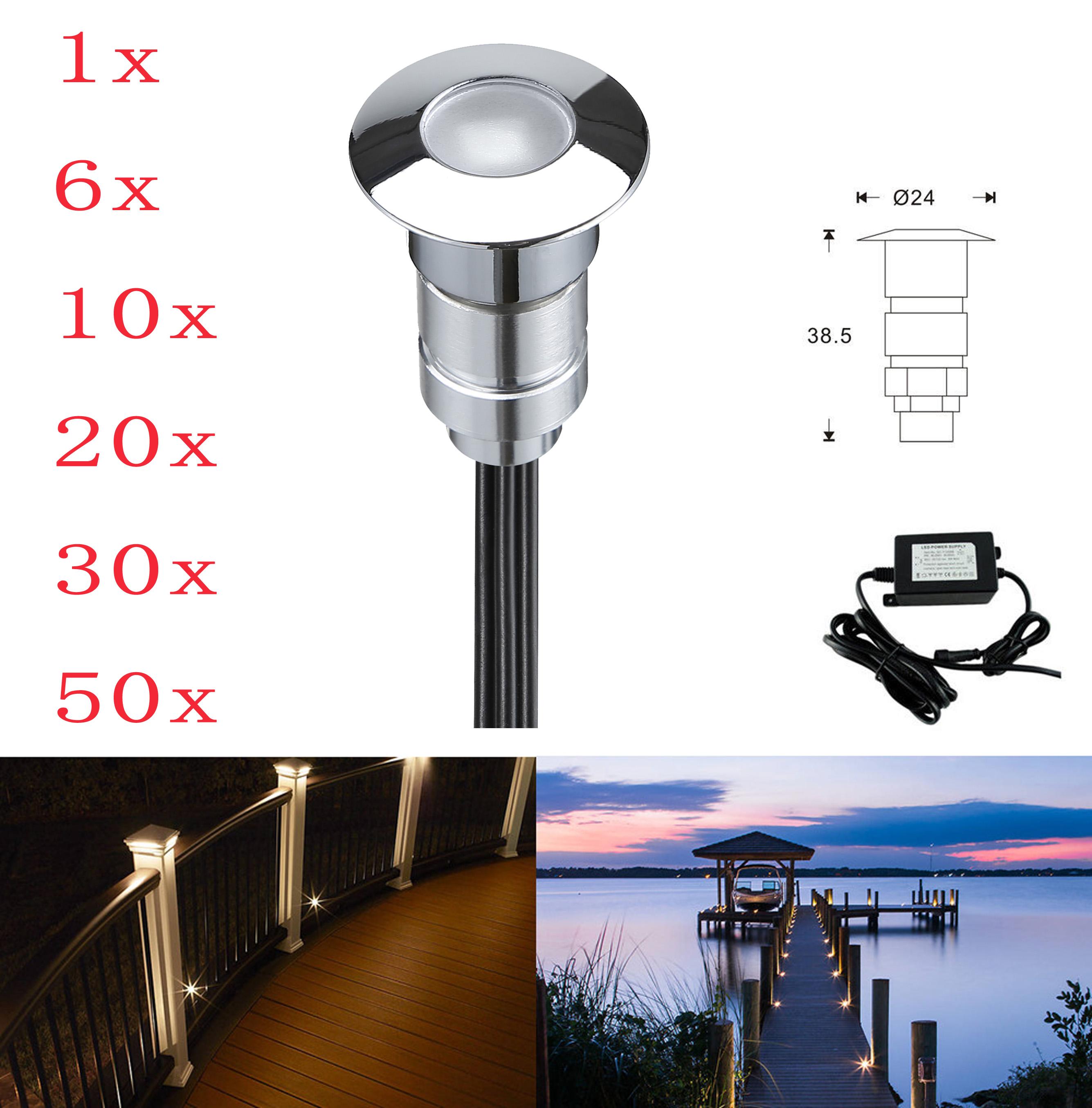 1 30pcs 24mm led lampe lumi re clairage spot terrasse exterieur maison jardin ebay for Eclairage jardin enterre