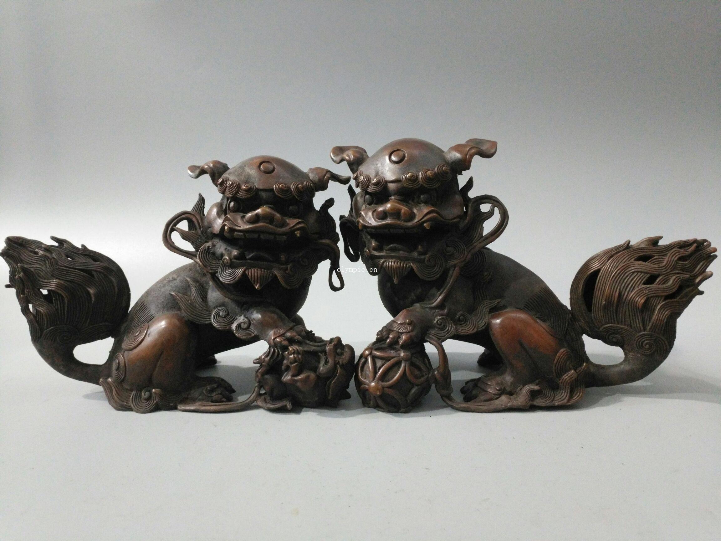 carved treasure Pair foo copper beast beast 10'' Pair bronze