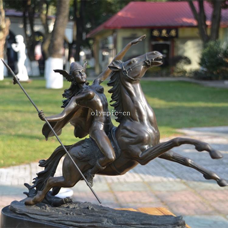 16 Ancient Greek Bronze Modern Art Sculpture A Women Warrior On Horse Statue Ebay