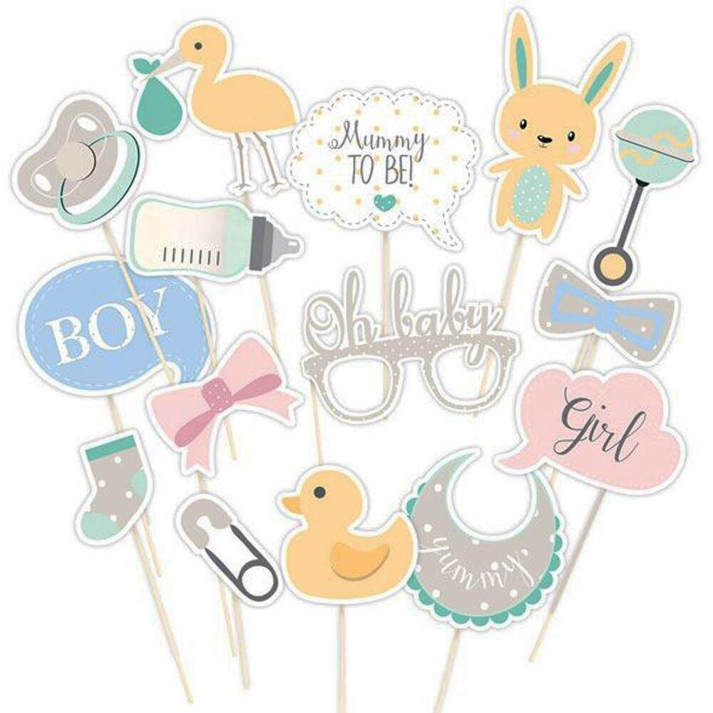 Unisex girl /& boy options OH BABY range Party photo props for baby shower