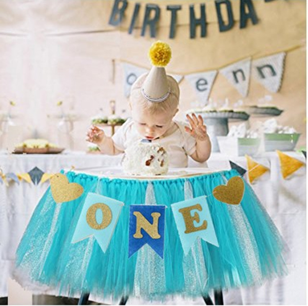 One Baby Boy Girls Chair Banner 1st Birthday Photo Props Party Decoration