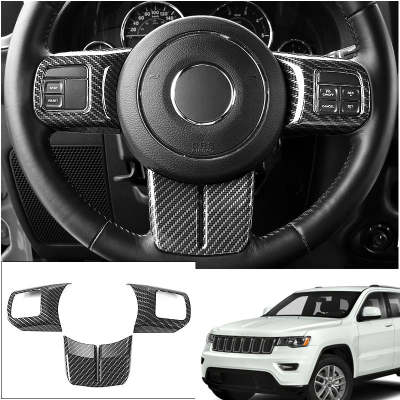 3PCS Carbon Fiber Inner Steering Wheel Cover Trim For 2018 2019 Jeep Wrangler JL