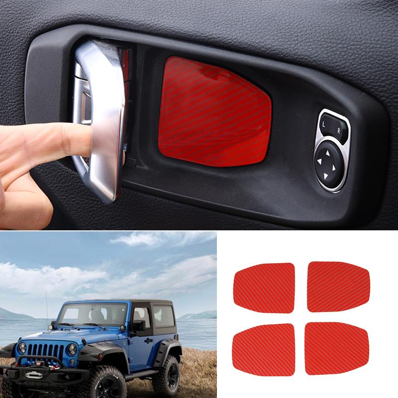 Carbon fiber Car Exterior Door Handle Bowl Cover Trim For 2018 Jeep Wrangler JL