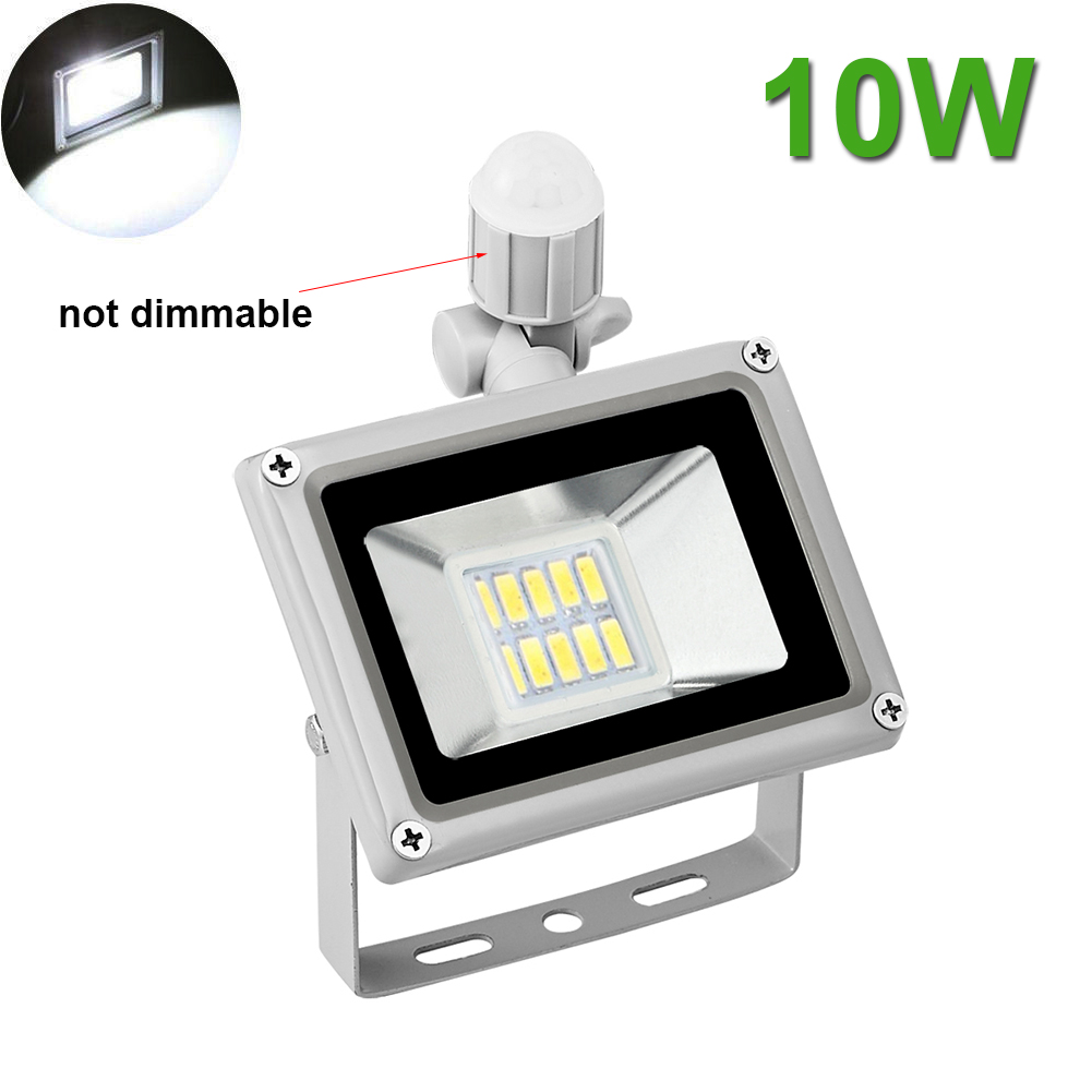 2X 10W LED Flood Light Cool White PIR Motion Sensor Outdoor Garden ...