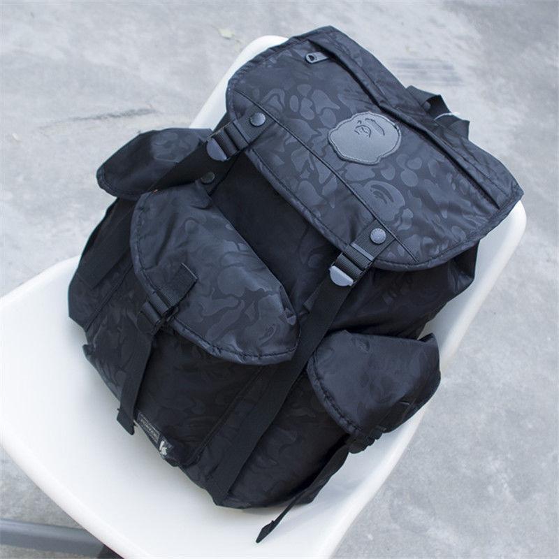 BAPE A BATHING APE Camo Backpack Satchel Mens Travel Rucksack Bookbag Laptop Bag