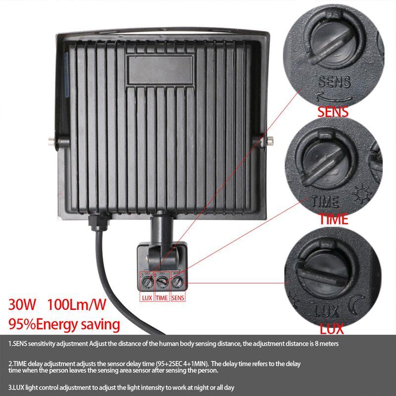 Led Flood Light Pir Sensor Motion 10 20 30 50 100w