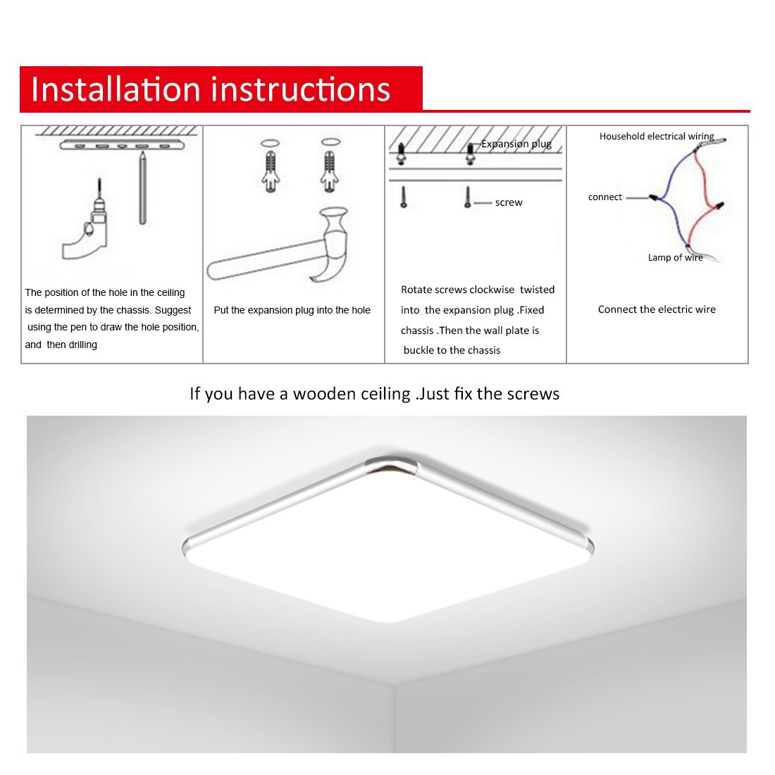 Dimmable Led Flush Mount Ceiling Light Bathroom Lamp Home Fixture W Wiring Diagram Spotlights Remote Us