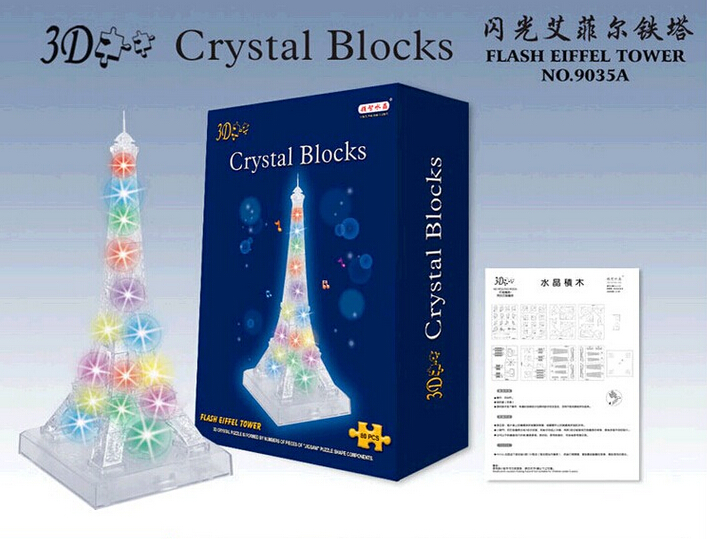 Flash Led Light Eiffel Tower With Music 3d Crystal Puzzle