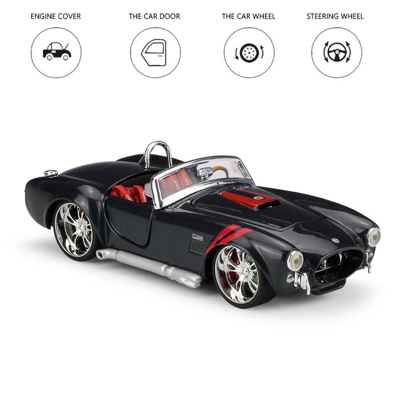 1:24 1965 Classic Ford Shelby Cobra Diecast Sports Car Collection Black Model