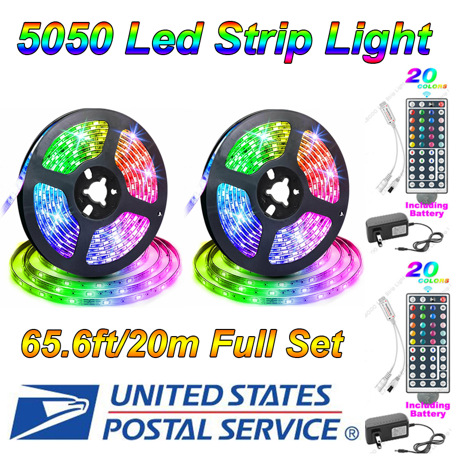 65.6FT Flexible Strip Light RGB LED SMD Remote Fairy Lights Room TV Party Bar US