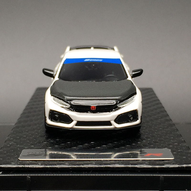 YM Model 1:64 Scale HONDA CIVIC TYPE R FK8 SPOON White Resin Car Collection