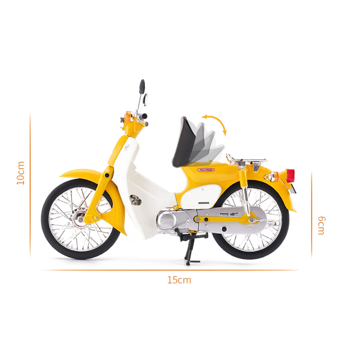 LCD MODELS/&AOSHIMA Honda Super Cub Motorcycle Diecast Model in 1//12 Scale Yellow